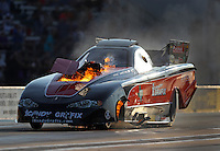 Oct 14, 2016; Ennis, TX, USA; NHRA funny car driver Todd Simpson explodes an engine on fire during qualifying for the Fall Nationals at Texas Motorplex. Mandatory Credit: Mark J. Rebilas-USA TODAY Sports