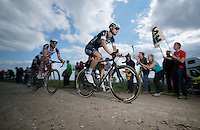Tom Boonen (BEL/OPQS) ahead with just a few able to follow him<br /> <br /> Paris-Roubaix 2014