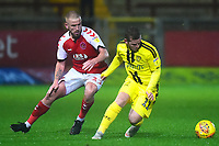 Fleetwood Town's Paddy Madden competes with Burton Albion's David Templeton<br /> <br /> Photographer Richard Martin-Roberts/CameraSport<br /> <br /> The EFL Sky Bet League One - Saturday 15th December 2018 - Fleetwood Town v Burton Albion - Highbury Stadium - Fleetwood<br /> <br /> World Copyright © 2018 CameraSport. All rights reserved. 43 Linden Ave. Countesthorpe. Leicester. England. LE8 5PG - Tel: +44 (0) 116 277 4147 - admin@camerasport.com - www.camerasport.com