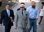 Former adviser to United States President Donald J. Trump, Roger Stone, smiles as he walks towards the US District Court in Washington, DC on Thursday, March 14, 2019. <br /> Credit: Ron Sachs / CNP<br /> (RESTRICTION: NO New York or New Jersey Newspapers or newspapers within a 75 mile radius of New York City)