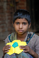 INDIA Uttar Pradesh, Meerut , village Kurali, cottage industry, children of dalit families stitch football of indian brand Vicky