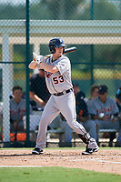 Detroit Tigers catcher Jake Rogers (53) at bat during a Florida Instructional League game against the Pittsburgh Pirates on October 2, 2018 at the Pirate City in Bradenton, Florida.  (Mike Janes/Four Seam Images)