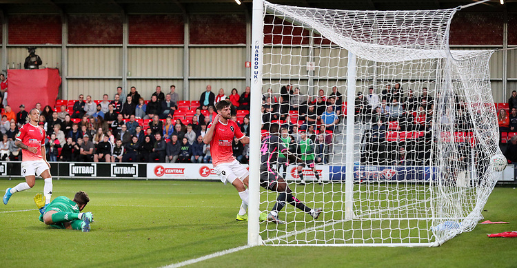 Leeds United's Eddie Nketiah scores the opening goal<br /> <br /> Photographer Alex Dodd/CameraSport<br /> <br /> The Carabao Cup First Round - Salford City v Leeds United - Tuesday 13th August 2019 - Moor Lane - Salford<br />  <br /> World Copyright © 2019 CameraSport. All rights reserved. 43 Linden Ave. Countesthorpe. Leicester. England. LE8 5PG - Tel: +44 (0) 116 277 4147 - admin@camerasport.com - www.camerasport.com