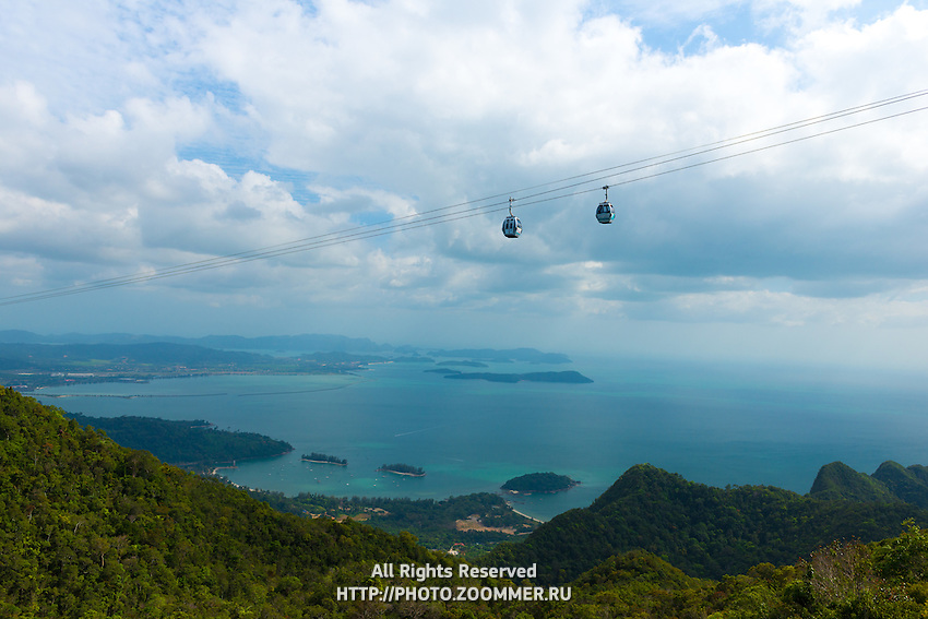 Cable car cabs and rope on Langkawi Island, Malaysia