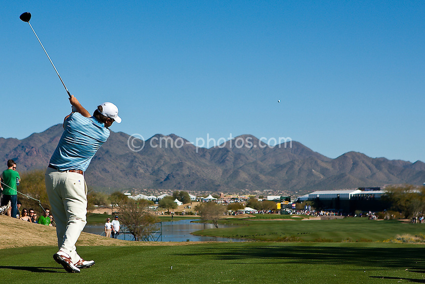 Jan 31, 2009; Scottsdale, AZ, USA; Cameron Beckman (USA) hits his tee shot on 15th tee during the third round of the FBR Open at the TPC Scottsdale.