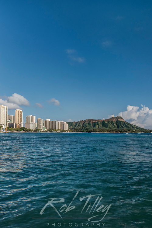 USA, HI, Honolulu, Waikiki & Diamond Head