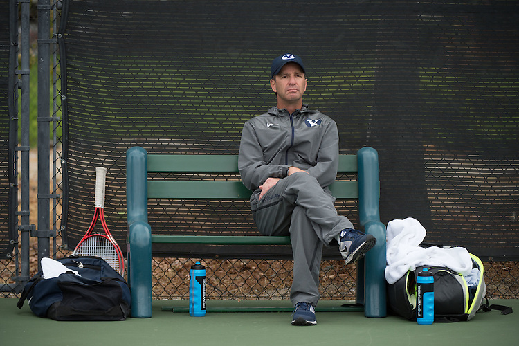 April 22, 2015; San Diego, CA, USA; BYU Cougars men's tennis head coach Brad Pearce during the WCC Tennis Championships at Barnes Tennis Center.