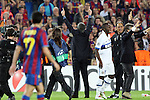 Football - FC Barcelona v Inter Milan UEFA Champions League Semi Final Second Leg - Camp Nou Stadium, Barcelona, Spain - 28/4/10 Inter Milan's coach Jose Mourinho celebrating after winning the match and Pedro Rodriguez of Barcelona