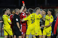 Harrison Biggins of Fleetwood Town is shown a red card during the The Leasing.com Trophy match between Accrington Stanley and Fleetwood Town at the Fraser Eagle Stadium, Accrington, England on 3 September 2019. Photo by Greig Bertram / PRiME Media Images.