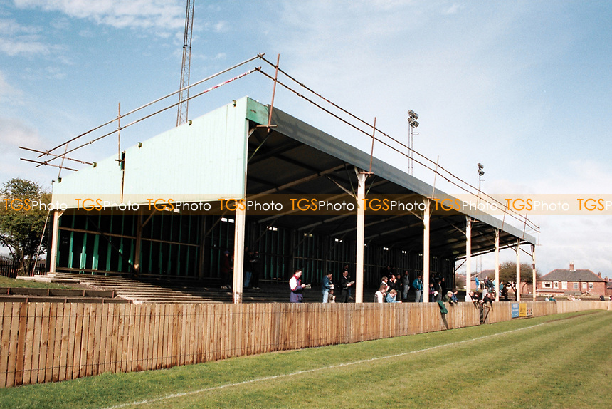 Covered terrace at Blyth Spartans FC Football Ground, Croft Park, Blyth, Northumberland, pictured on 10th April 1993