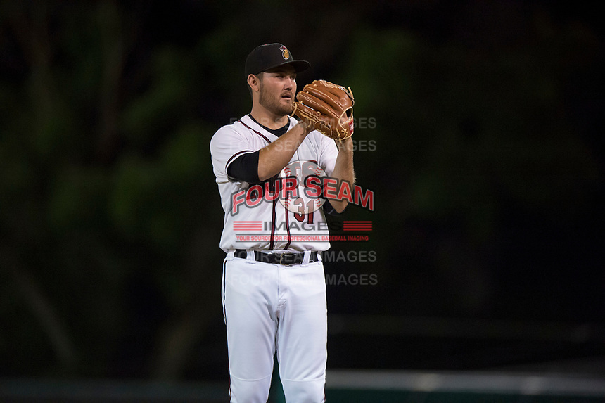 Modesto Nuts starting pitcher John Richy (31) looks to his catcher for the sign during a California League game against the Lake Elsinore Storm at John Thurman Field on May 12, 2018 in Modesto, California. Lake Elsinore defeated Modesto 4-1. (Zachary Lucy/Four Seam Images)