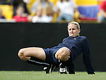 Leslie Osborne, of the United States, stretches before the game on Saturday, October 23rd, 2005 at Blackbaud Stadium in Charleston, South Carolina. The United States Women's National Team defeated Mexico 3-0 in an international women's friendly soccer match.