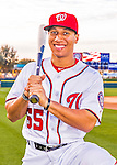 28 February 2016: Washington Nationals second baseman Chris Bostick poses for his Spring Training Photo-Day portrait at Space Coast Stadium in Viera, Florida. Mandatory Credit: Ed Wolfstein Photo *** RAW (NEF) Image File Available ***