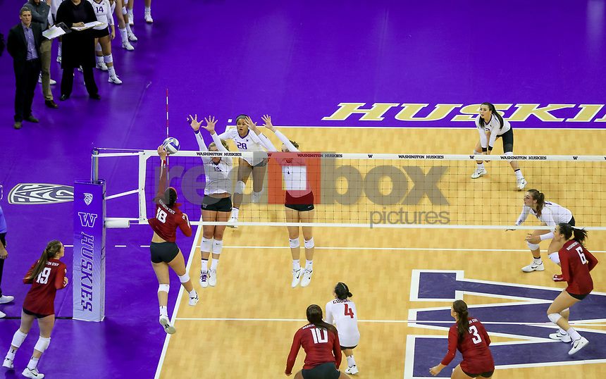 The University of Washington volleyball team defeats WSU 3-0 in Seattle on November 24, 2017. (Photography by Scott Eklund/Red Box Pictures)