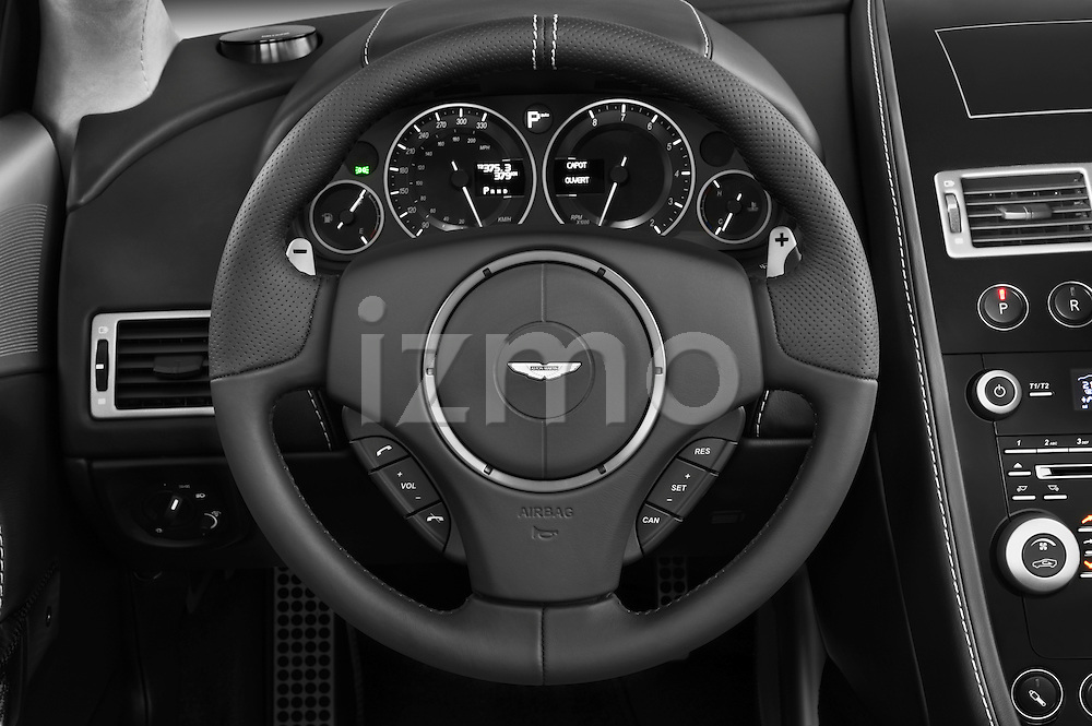 Steering wheel view of a 2007 - 2012 Aston Martin DBS Volante Convertible.