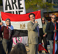 "October 23, 2011  (Washington, DC) Egyptian revolutionaries speak to an assembly of October2011, the group that has been ""occupying"" Freedom Plaza in Washington.  (L-R) Esraa Abdel Fatah, Besam Fathy, Ahmed Maher    (Photo by Don Baxter/Media Images International)"