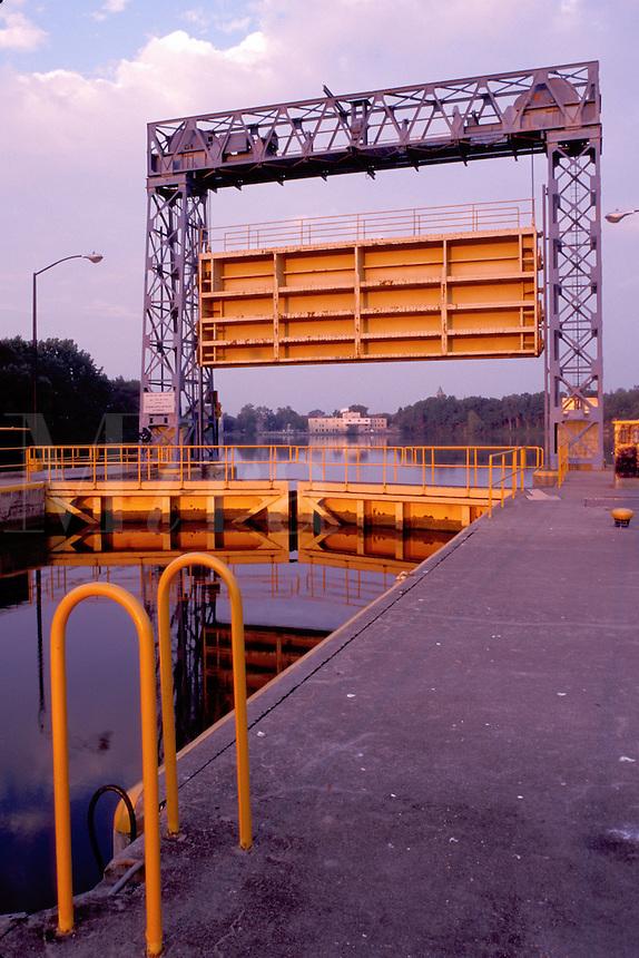 locks, canal, Seneca Falls, Finger Lakes, New York, NY, Double locks on Cayuga-Seneca Canal. Locks create a 49 foot change in elevation along the canal.