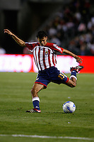 Chivas USA defender Jonathan Bornstein passes the ball. The Los Angeles Galaxy defeated Chivas USA, 2-1, at the Home Depot Center in Carson, Calif. on April 15, 2006.