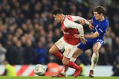 10th January 2018, Stamford Bridge, London, England; Carabao Cup football, semi final, 1st leg, Chelsea versus Arsenal; Andreas Christensen of Chelsea challenges Alexis Sanchez of Arsenal