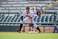 Bradenton Marauders first baseman Lucas Tancas (27) during a Florida State League game against the Charlotte Stone Crabs on April 10, 2019 at LECOM Park in Bradenton, Florida.  Bradenton defeated Charlotte 2-1.  (Mike Janes/Four Seam Images)