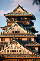 Exterior view of Osaka castle multi-story roof detail. Osaka, Japan.