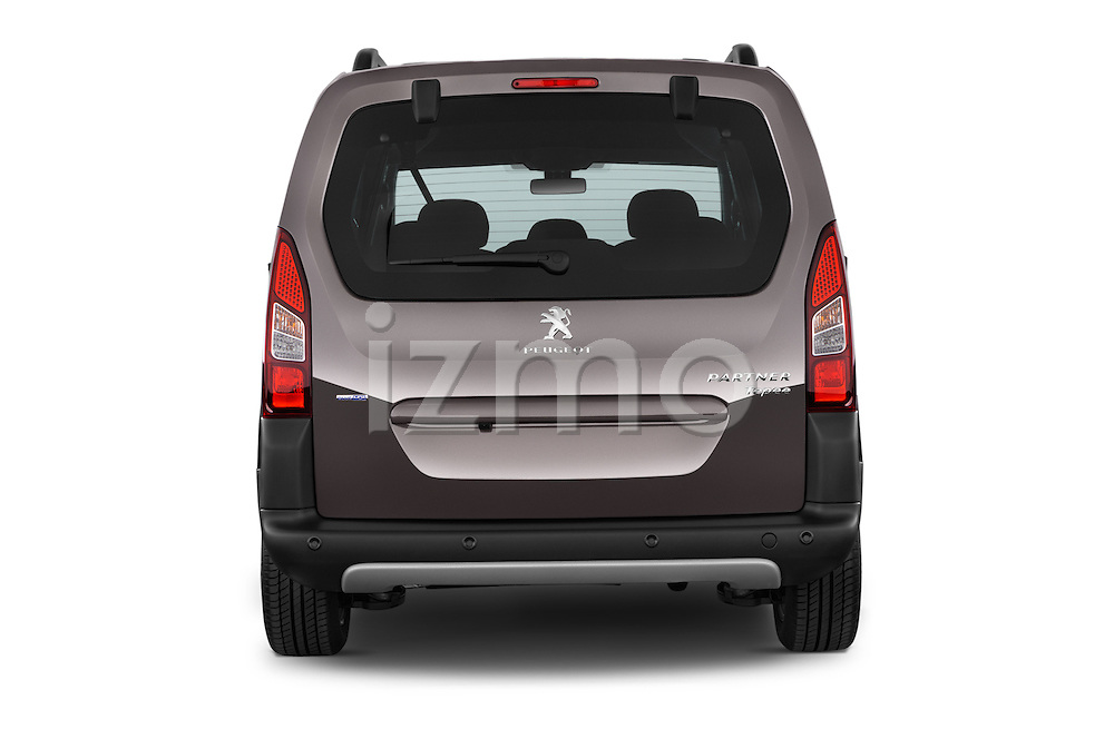Straight rear view of2015 Peugeot Partner Tepee Outdoor 5 Door Mini Mpv Rear View  stock images