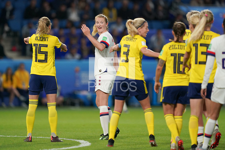 LE HAVRE, FRANCE - JUNE 20: Samantha Mewis #3 during a 2019 FIFA Women's World Cup France group F match between the United States and Sweden at Stade Océane on June 20, 2019 in Le Havre, France.
