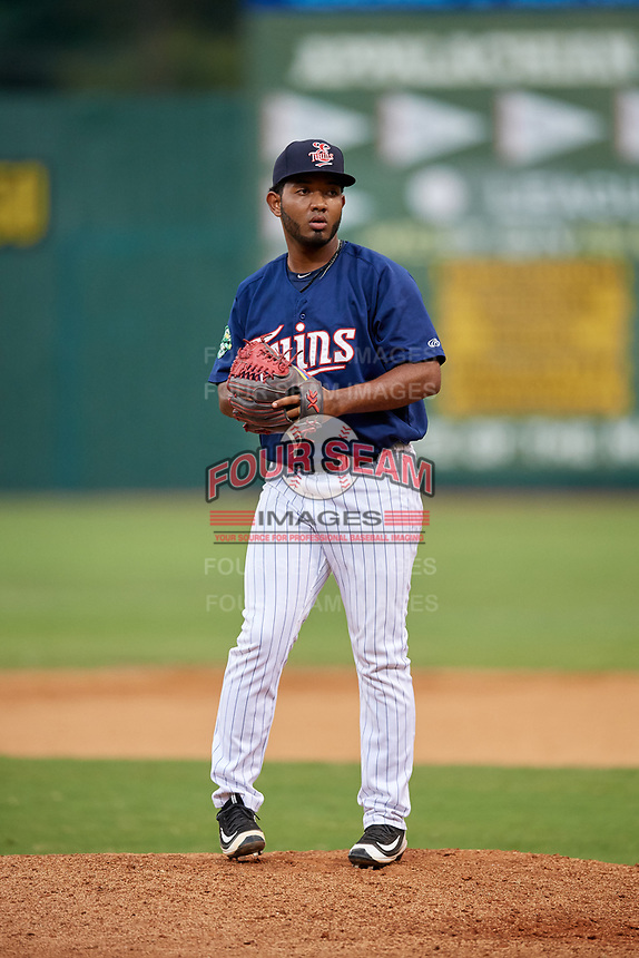 Elizabethton Twins relief pitcher Moises Gomez (47) gets ready to deliver a pitch during a game against the Bristol Pirates on July 29, 2018 at Joe O'Brien Field in Elizabethton, Tennessee.  Bristol defeated Elizabethton 7-4.  (Mike Janes/Four Seam Images)