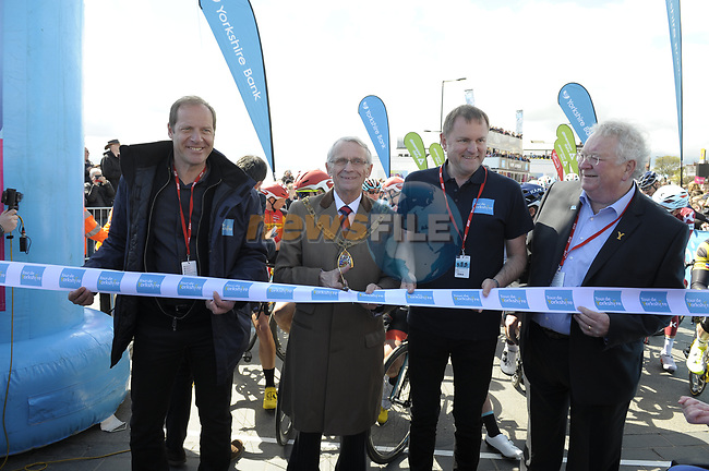 Christian Prudhomme ASO and Gary Verity cutting the tape to the start of Stage 1 of the Tour de Yorkshire 2017 running 174km from Bridlington to Scarborough, England. 28th April 2017. <br /> Picture: ASO/P.Ballet   Cyclefile<br /> <br /> <br /> All photos usage must carry mandatory copyright credit (&copy; Cyclefile   ASO/P.Ballet)