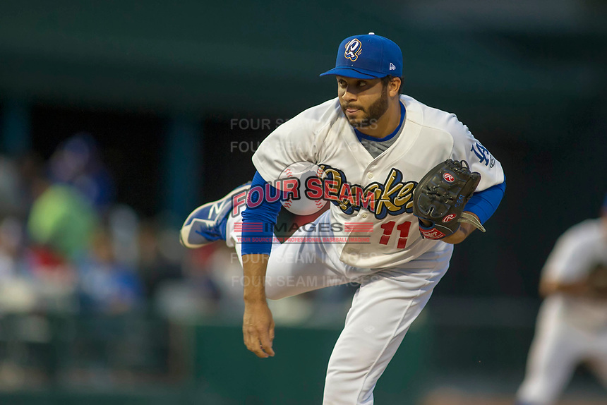 Rancho Cucamonga Quakes starting pitcher Jordan Sheffield (11) follows through on his delivery against the Inland Empire 66ers at LoanMart Field on April 12, 2018 in Rancho Cucamonga, California. The 66ers defeated the Quakes 5-4.  (Donn Parris/Four Seam Images)