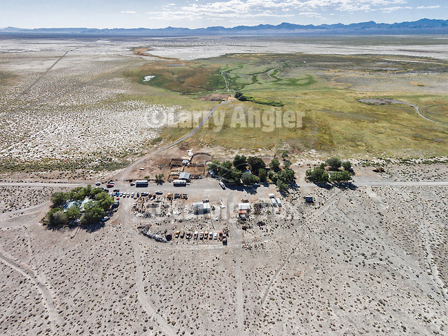 Blue Eagle Ranch, Nevda and Butterfield Spring at the eastern edge of the Railroad Valley beneath the Grant Range, from a drone.