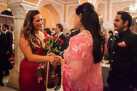 Australian violinist Niki Vasilakis (left) shakes hands with Princess Diya Kumari of the Royal Family of Jaipur as they share a light conversation after her solo violin concert played to a prominent audience, including the Jaipur Royal Family, and other VIPs at the OzFest Gala Dinner in the Jaipur City Palace, in Rajasthan, India on 10 January 2013. Photo by Suzanne Lee