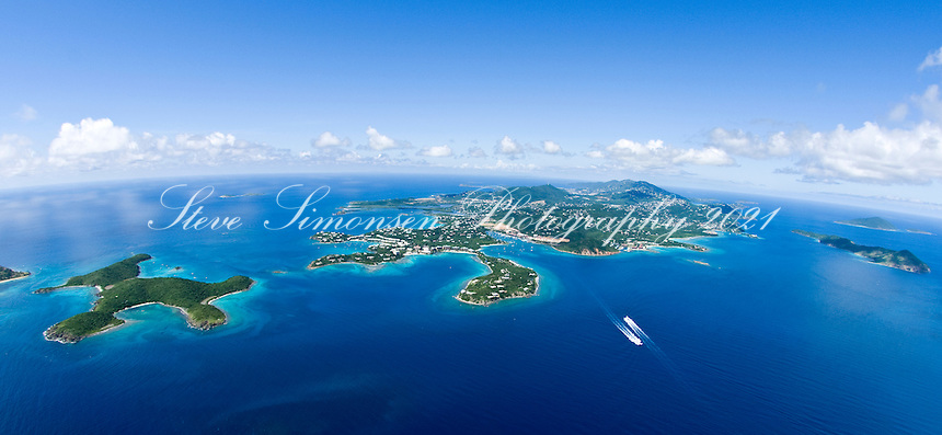 Aerial view of St. Thomas and outer cays<br />