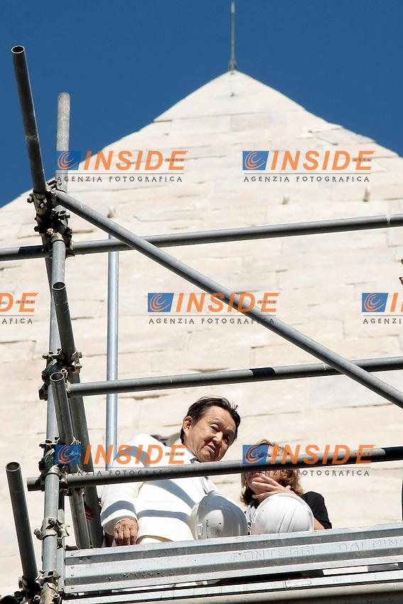 Yuzo Yagi <br /> Roma 15-07-2014 Il Ministro dei Beni e delle Attivit&agrave; Culturali incontra il mecenate giapponese finanziatore del restauro della Piramide.<br /> Minister of Cultural Heritage meets the japanese financier for the restoration of the Pyramid of Cestius.<br /> Photo Samantha Zucchi Insidefoto