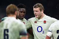 Maro Itoje and Joe Launchbury of England in a post-match huddle. Old Mutual Wealth Series International match between England and Australia on November 18, 2017 at Twickenham Stadium in London, England. Photo by: Patrick Khachfe / Onside Images