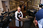 Nevada Sen. Debbie Smith, D-Sparks, answers media questions at the Legislative Building in Carson City, Nev., on Wednesday, April 8, 2015. Smith returned to work Wednesday, two months after having a malignant brain tumor removed. <br /> Photo by Cathleen Allison