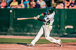 20 August 2017: Vermont Lake Monsters outfielder Logan Farrar, a 36th round draft pick for the Oakland Athletics, hits an RBI single against the Connecticut Tigers at Centennial Field in Burlington, Vermont. The Lake Monsters rallied to edge out the Tigers 6-5 in 13 innings of NY Penn League action.  Mandatory Credit: Ed Wolfstein Photo *** RAW (NEF) Image File Available ***