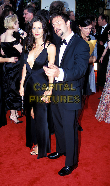 COURTENEY COX ARQUETTE & DAVID ARQUETTE.Golden Globe Awards.long black dress, cleavage.www.capitalpictures.com.sales@capitalpictures.com.© Capital Pictures