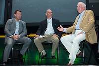 Charlie Manuel, former manager of the Charlotte Knights, tells a story as Jim Thome (left) and Matt Swierad listen at the Triple-A All-Star Game Luncheon at the Charlotte Convention Center on July 12, 2016 in Charlotte, North Carolina.  Manuel and Thome were inducted into the Charlotte Baseball Roundtable of Honor.   (Brian Westerholt/Four Seam Images)