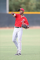 Jimmy Barnes (17) of the AZL Angels throws before a game against the AZL Rangers at the Texas Rangers Spring Training Complex on July 1, 2015 in Surprise, Arizona. Rangers defeated the Angels, 3-1. (Larry Goren/Four Seam Images)