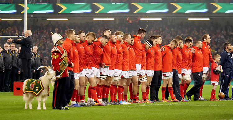 The Welsh team line up prior to the National anthems<br /> <br /> Photographer Ian Cook/CameraSport<br /> <br /> Under Armour Series Autumn Internationals - Wales v South Africa - Saturday 24th November 2018 - Principality Stadium - Cardiff<br /> <br /> World Copyright © 2018 CameraSport. All rights reserved. 43 Linden Ave. Countesthorpe. Leicester. England. LE8 5PG - Tel: +44 (0) 116 277 4147 - admin@camerasport.com - www.camerasport.com