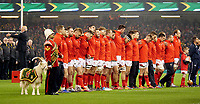 The Welsh team line up prior to the National anthems<br /> <br /> Photographer Ian Cook/CameraSport<br /> <br /> Under Armour Series Autumn Internationals - Wales v South Africa - Saturday 24th November 2018 - Principality Stadium - Cardiff<br /> <br /> World Copyright &copy; 2018 CameraSport. All rights reserved. 43 Linden Ave. Countesthorpe. Leicester. England. LE8 5PG - Tel: +44 (0) 116 277 4147 - admin@camerasport.com - www.camerasport.com