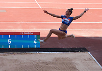 Ivans Spanovic (Serbia) competing in the Women's long jump during the IAAF Diamond League Athletics Müller Grand Prix Birmingham at Alexander Stadium, Walsall Road, Birmingham on 18 August 2019. Photo by Alan  Stanford.