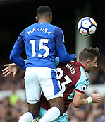 1st October 2017, Goodison Park, Liverpool, England; EPL Premier League Football, Everton versus Burnley; Cuco Martina of Everton and Stephen Ward of Burnley compete for a header