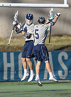Washington, DC - February 27, 2018: Georgetown Hoyas Sean O'Keefe (5) celebrates after goal during game between Mount St. Mary's and Georgetown at  Cooper Field in Washington, DC.   (Photo by Elliott Brown/Media Images International)