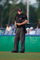 Umpire Jesse Busch during a NY-Penn League game between the State College Spikes and Batavia Muckdogs on July 2, 2019 at Dwyer Stadium in Batavia, New York.  Batavia defeated State College 1-0.  (Mike Janes/Four Seam Images)