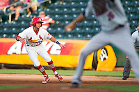Greg Garcia (7) of the Springfield Cardinals takes a lead off of first base during a game against the Arkansas Travelers at Hammons Field on June 12, 2012 in Springfield, Missouri. (David Welker/Four Seam Images)