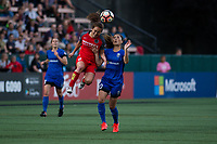 Seattle, WA - Saturday, July 1, 2017:  Meleana Shim and Rumi Utsugi during a regular season National Women's Soccer League (NWSL) match between the Seattle Reign FC and the Portland Thorns FC at Memorial Stadium.
