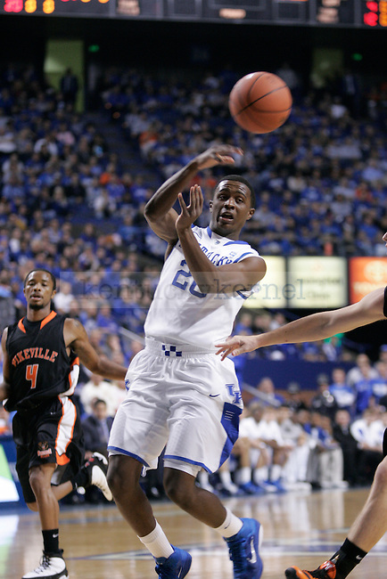 UK guard Doron Lamb passes the ball to the perimeter against Pikeville College at Rupp Arena on Monday, Nov. 1, 2010. Photo by Scott Hannigan   Staff
