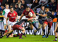 Tangaki Faletau leaps into a tackle during the 2017 DHL Lions Series rugby union match between the NZ Provincial Barbarians and British & Irish Lions at Toll Stadium in Whangarei, New Zealand on Saturday, 3 June 2017. Photo: Dave Lintott / lintottphoto.co.nz